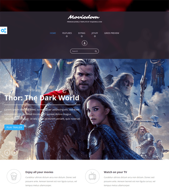 moviedom movie joomla template