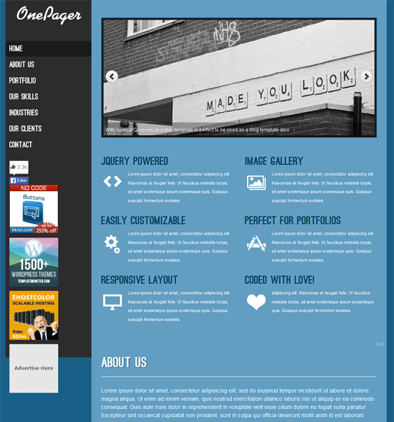 onepager free one page wordpress theme