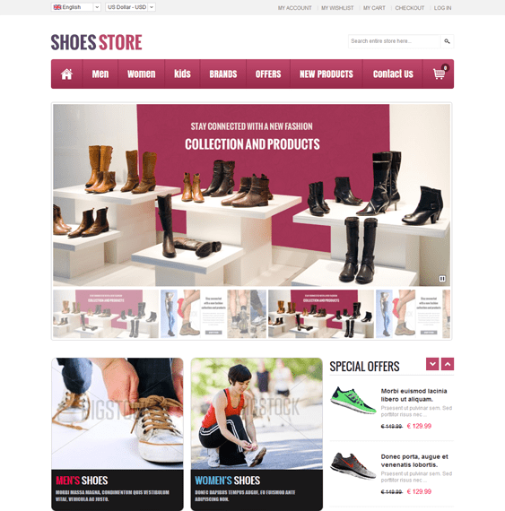 shoes store free bootstrap magento theme