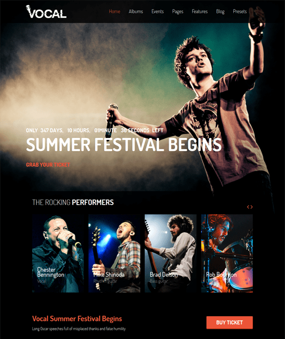 vocal event joomla template