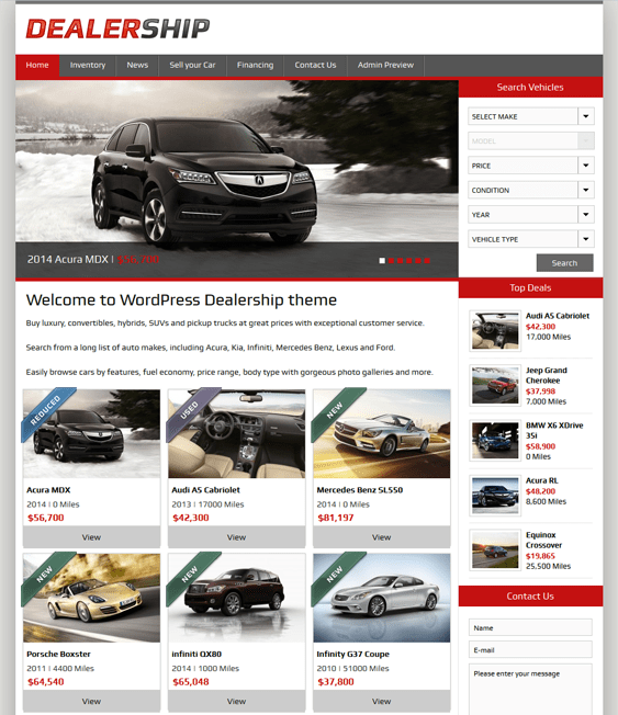8 of the best joomla wordpress themes for car dealerships vehicle listings down. Black Bedroom Furniture Sets. Home Design Ideas