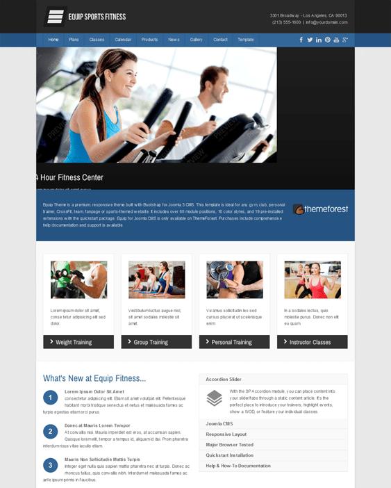 equip gym fitness joomla templates