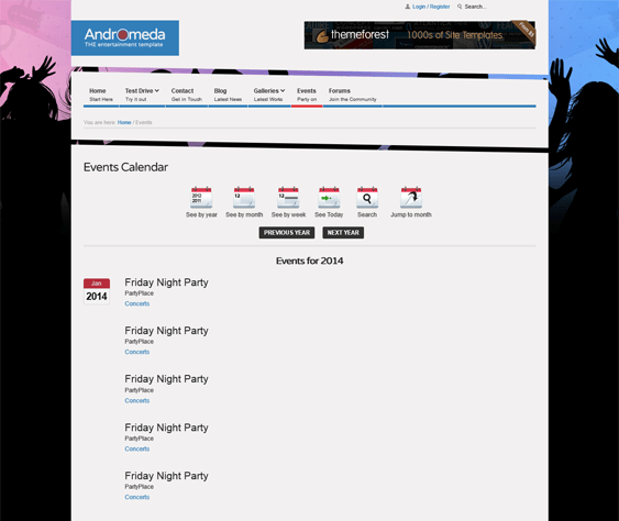 andromeda event joomla template