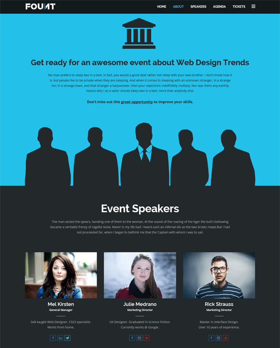 fount wordpress theme for events