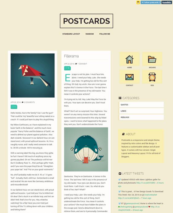 postcards masonry tumblr theme