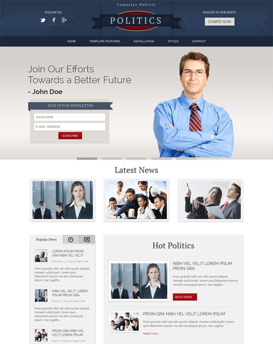 hot politics political joomla templates