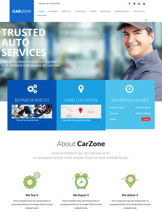car zone car mechanic repair shop wordpress themes