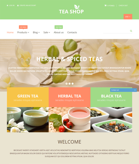 shop tea coffee stores shopify themes