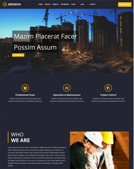 batakoo construction wordpress themes
