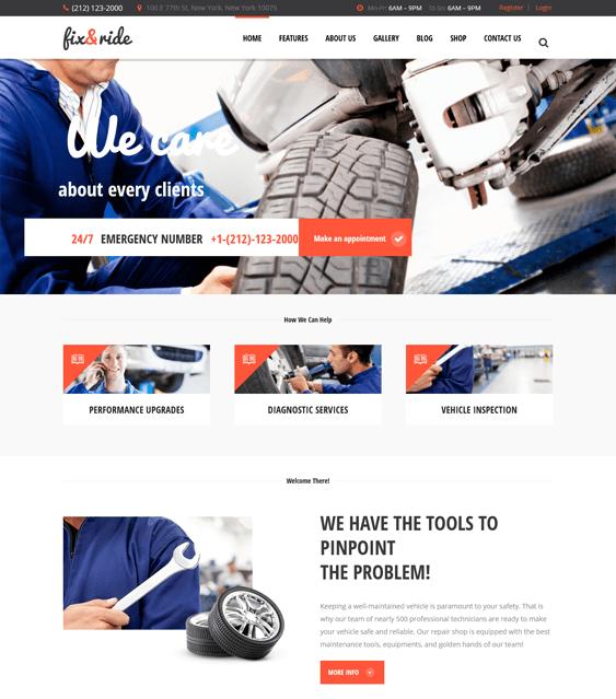 fix ride car vehicle automotive wordpress themes