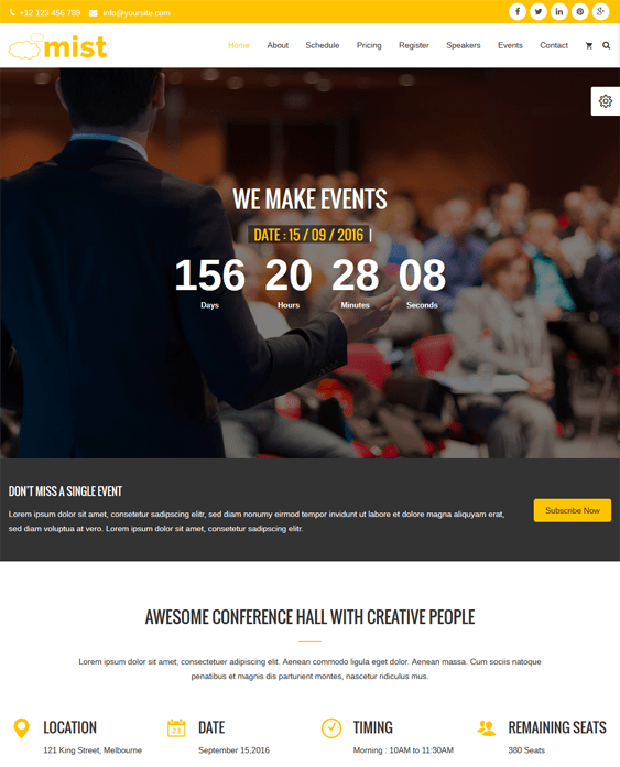 mist events wordpress themes