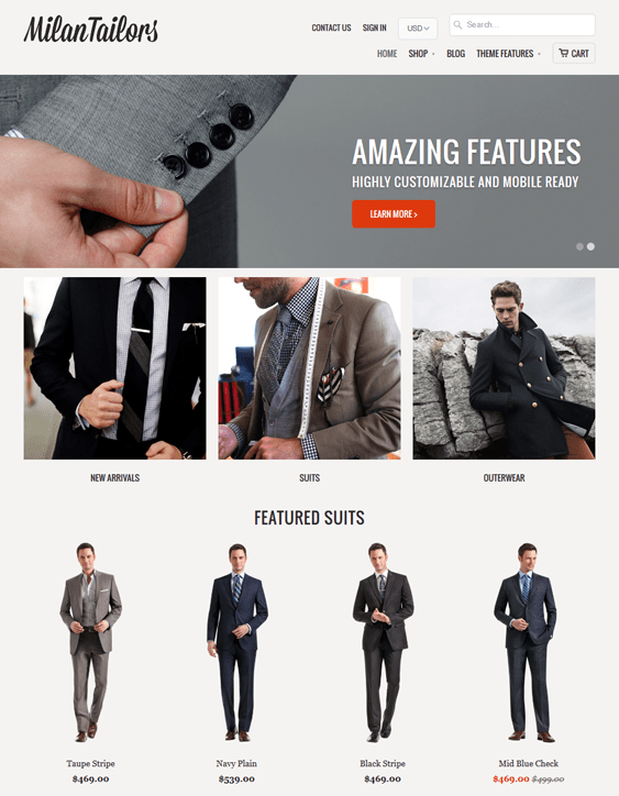28 of the best shopify themes for clothing stores down for Mobilia theme