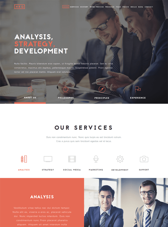 nrgbusiness one page drupal themes