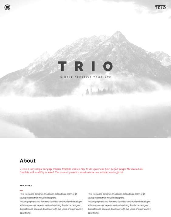 trio one page drupal themes