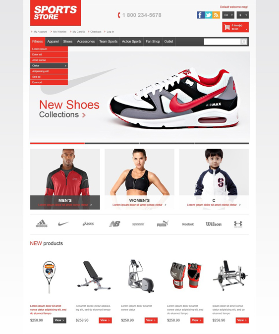 athletic sports fitness magento themes