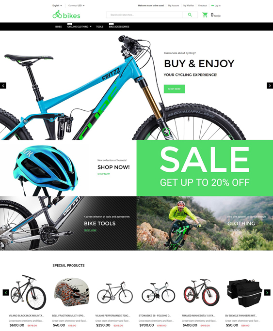 bike shop sports fitness magento themes