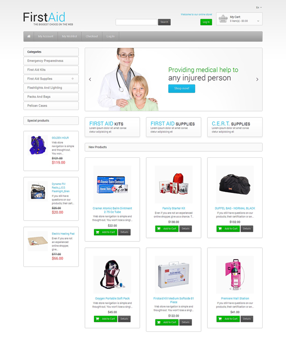 first aid medical magento themes