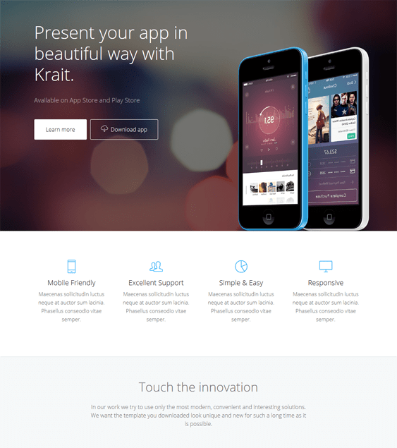 krait wordpress themes promoting apps