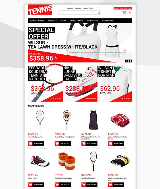 tennis sports fitness magento themes