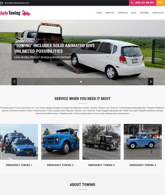 towing car vehicle automotive wordpress themes