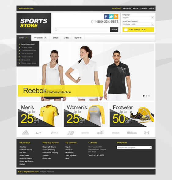 universal sports fitness magento themes
