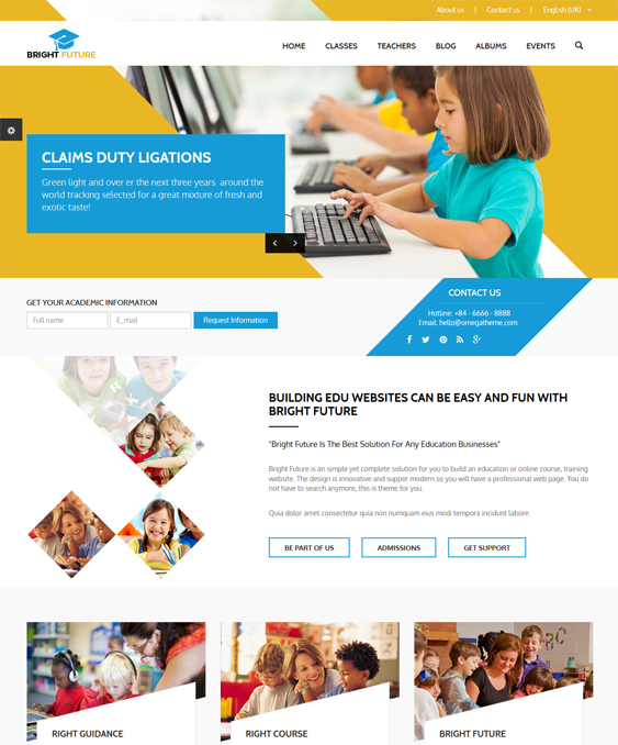 futurebright education joomla templates
