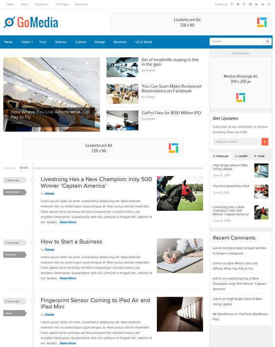 gomedia news magazine wordpress themes