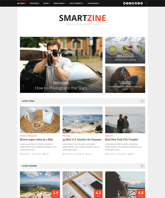 smartzine news magazine wordpress themes