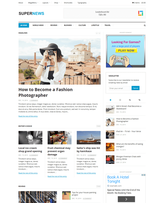 supernews magazine wordpress themes