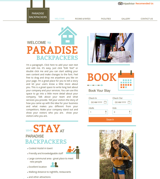backpackers free hotel wix templates