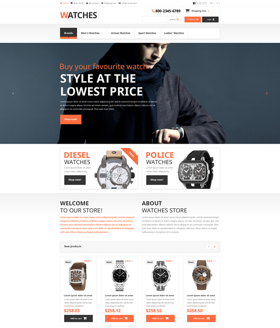 brand jewelry watch opencart themes