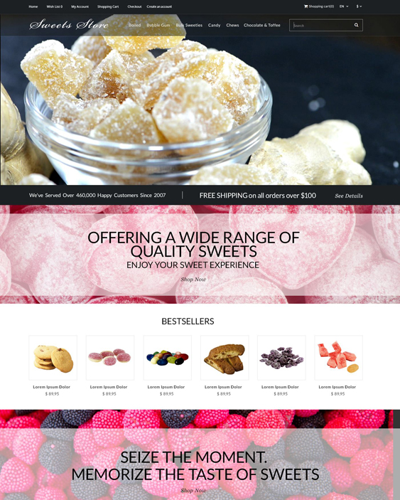 candy food drink restaurant opencart themes