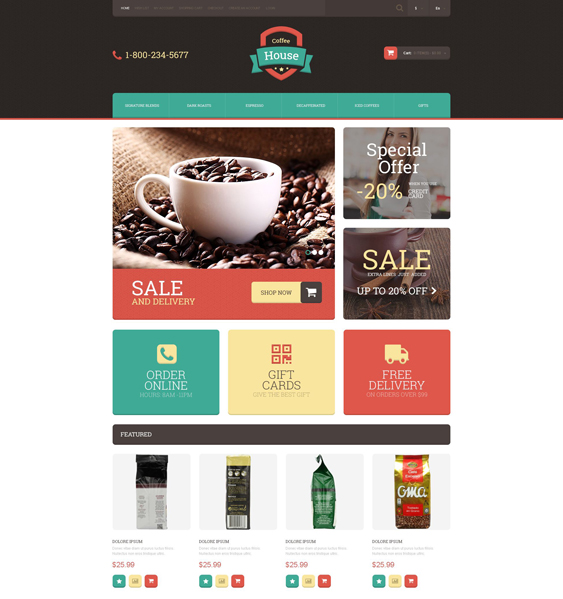 drink coffee food restaurant opencart themes