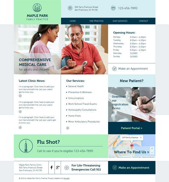 family practice medical wix templates