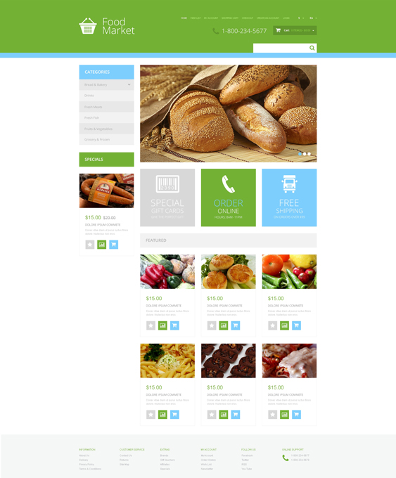 grocery food drink restaurant opencart themes