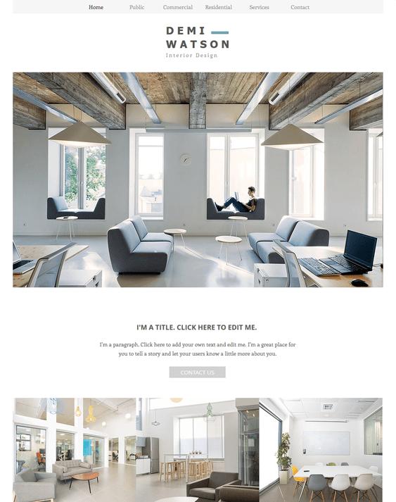 interior design portfolio wix templates