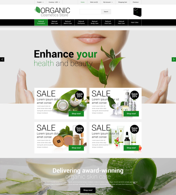 organic beauty products cosmetics hair care perfumes opencart themes