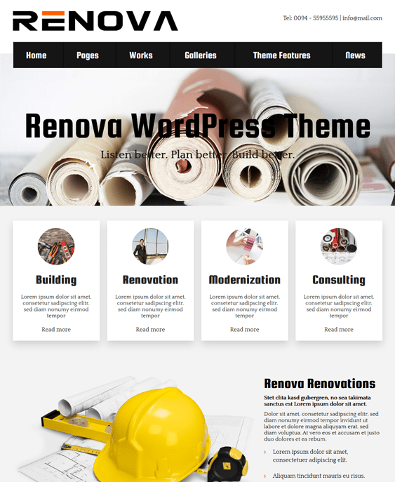 renova contractor construction wordpress themes