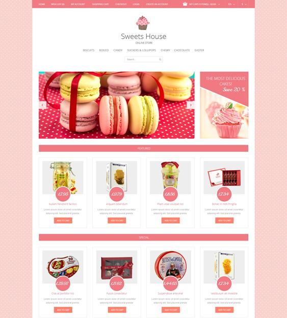 sweet shop food drink restaurant opencart themes