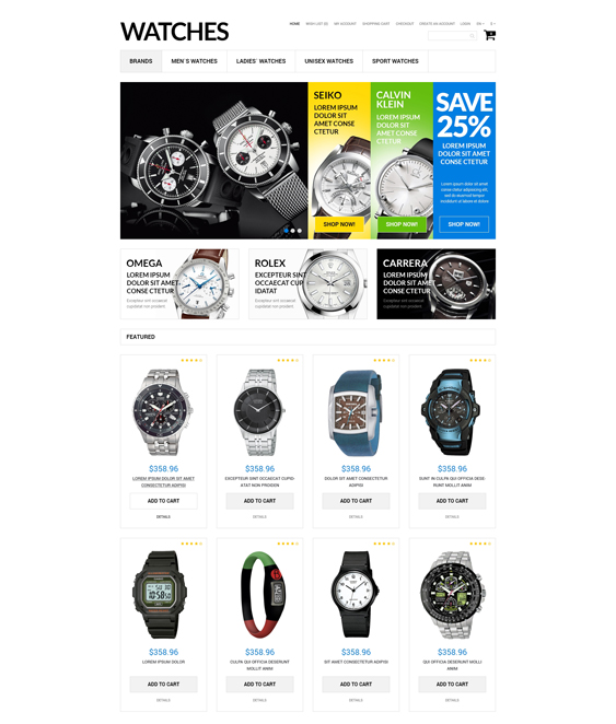 watches jewelry watch opencart themes 1