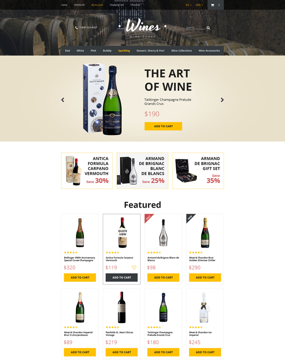 wines food drink restaurant opencart themes