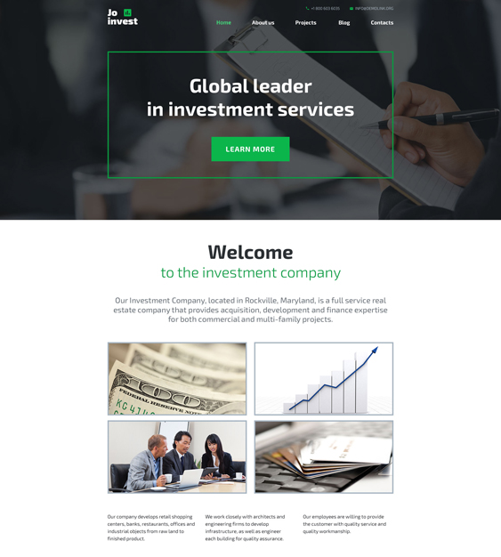jo invest parallax wordpress themes