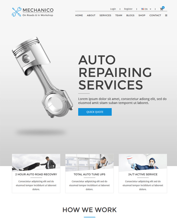 mechanico car vehicle automotive wordpress themes