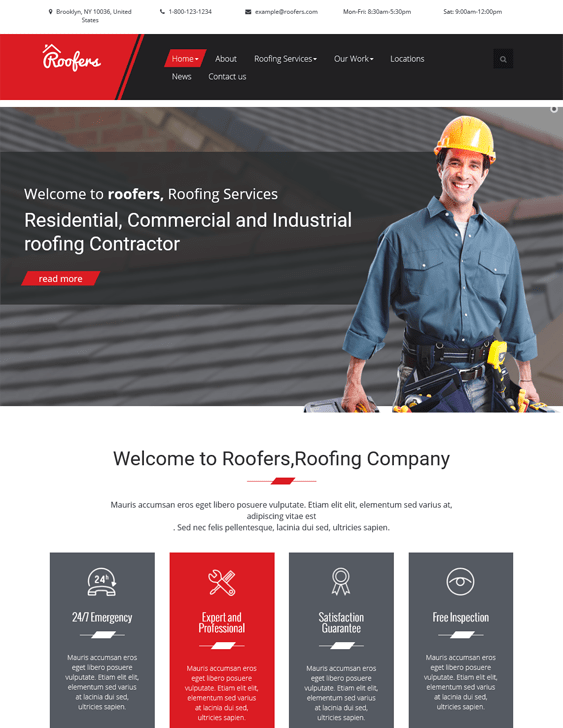 wordpress themes roofers roofing companies