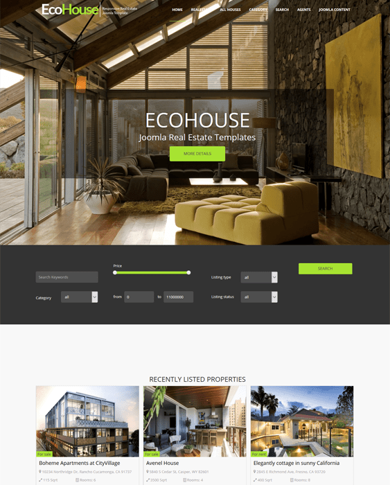 eco house real estate joomla templates