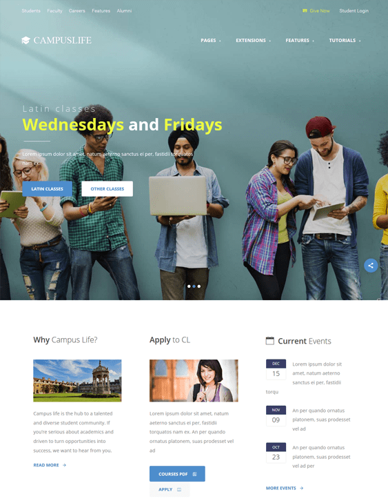 campus life school education wordpress themes