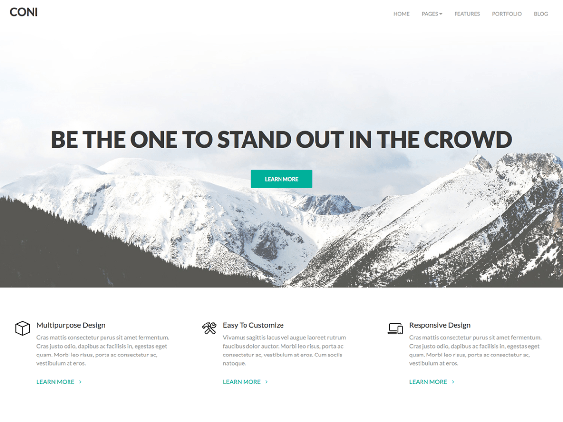 coni free one page wordpress themes