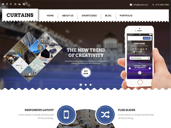 curtains free wordpress themes promoting apps
