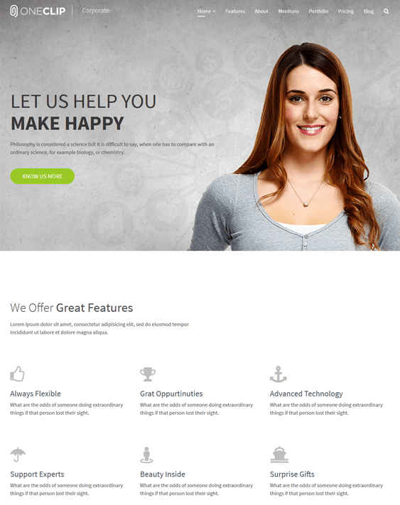 oneclip one page joomla templates