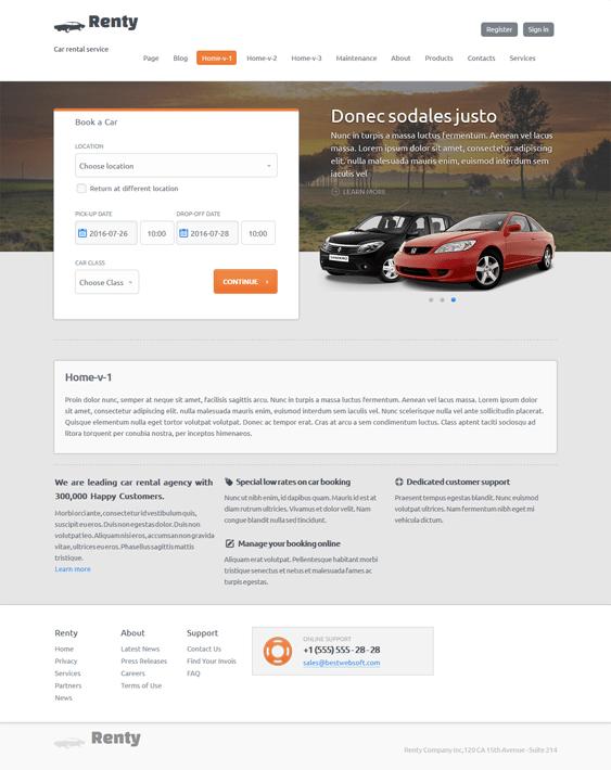 renty automotive car vehicle wordpress themes